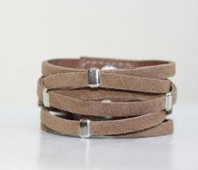 Braided Light Brown Suede Cuff Bracelet