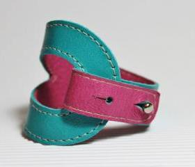 Bi-Color Leather Bracelet In Turquoise and Deep Pink / Magenta Leather Cuff