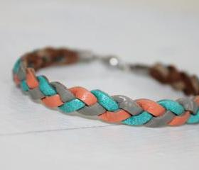Tri-Color Braided Leather Bracelet / Grey Turquoise ,Coral Pink